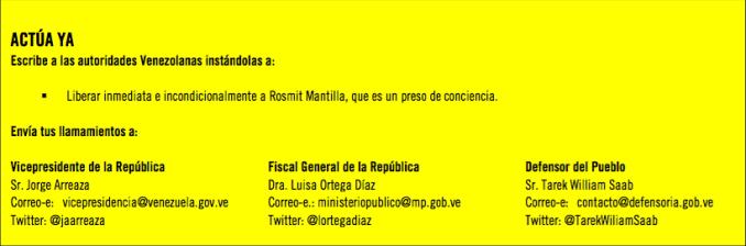 AI insta a escribir a las autoridades venezolanas para pedir la liberación de Mantilla